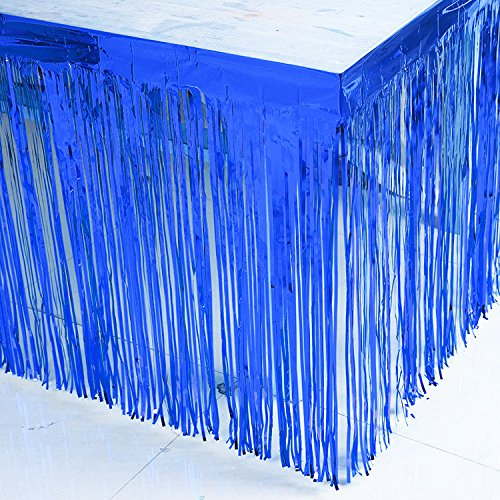 BluKey 29x108-Inch Metallic Fringe Table Skirt Banner Royal Blue -
