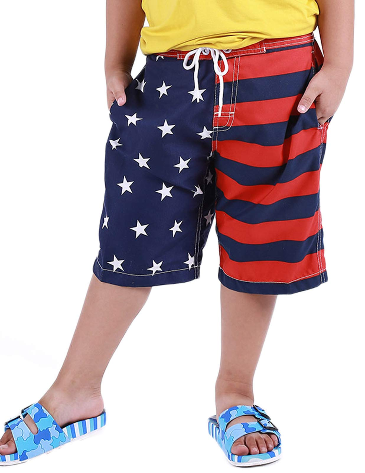 Danna Belle Boys Swim Shorts Stars and Stripes American Flag Swimming Trunk 7-8Yrs DB50-2 by Danna Belle (Image #3)