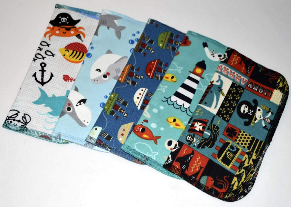1 Ply Printed Flannel Little Wipes 8x8 Inches Set of 5 Pirates and Pals Ocean Adventure