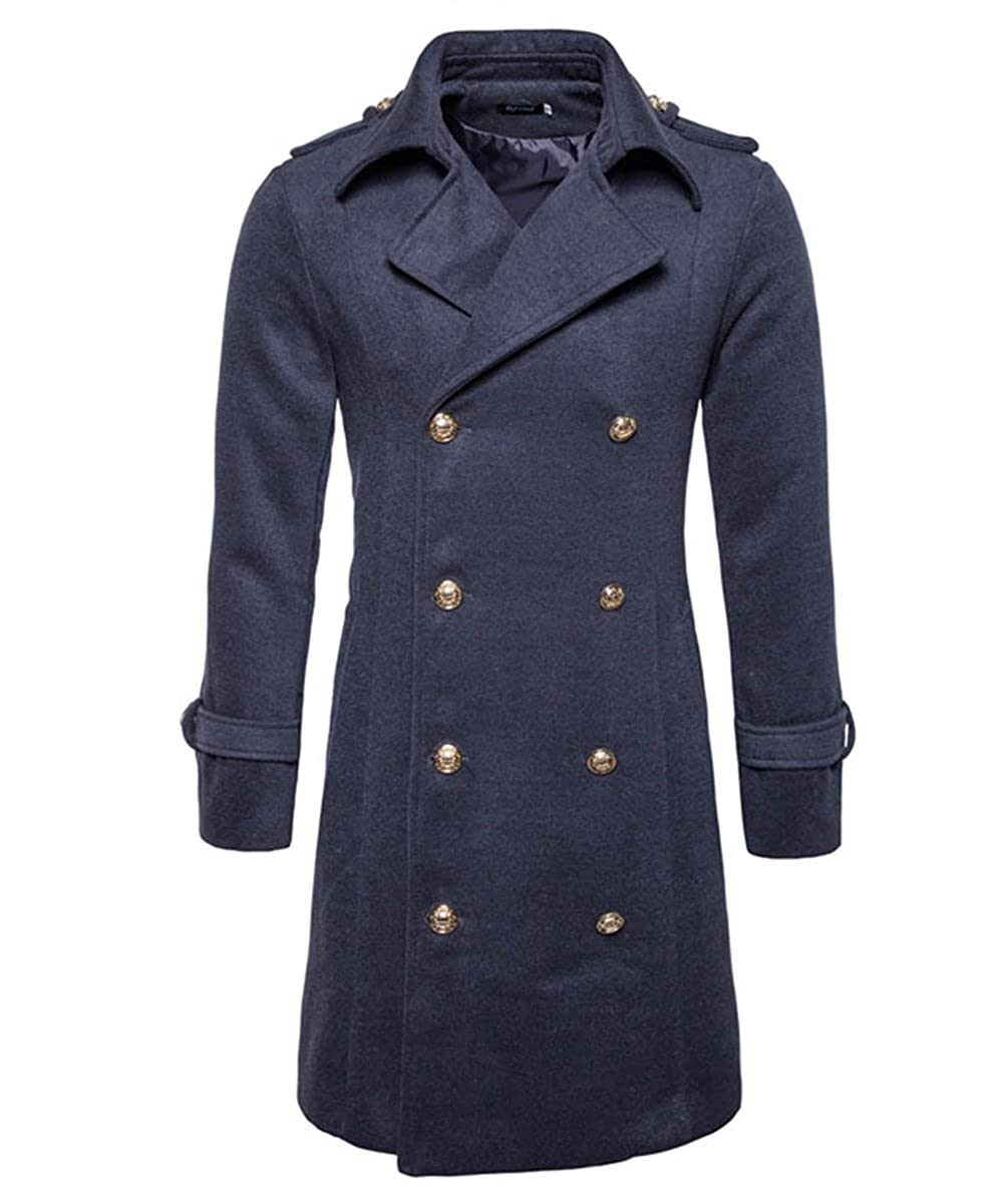 Mens Wool Trench Coat Double-Breasted Long Fashion Business Slim Fit Winter Overcoat Trenchcoats