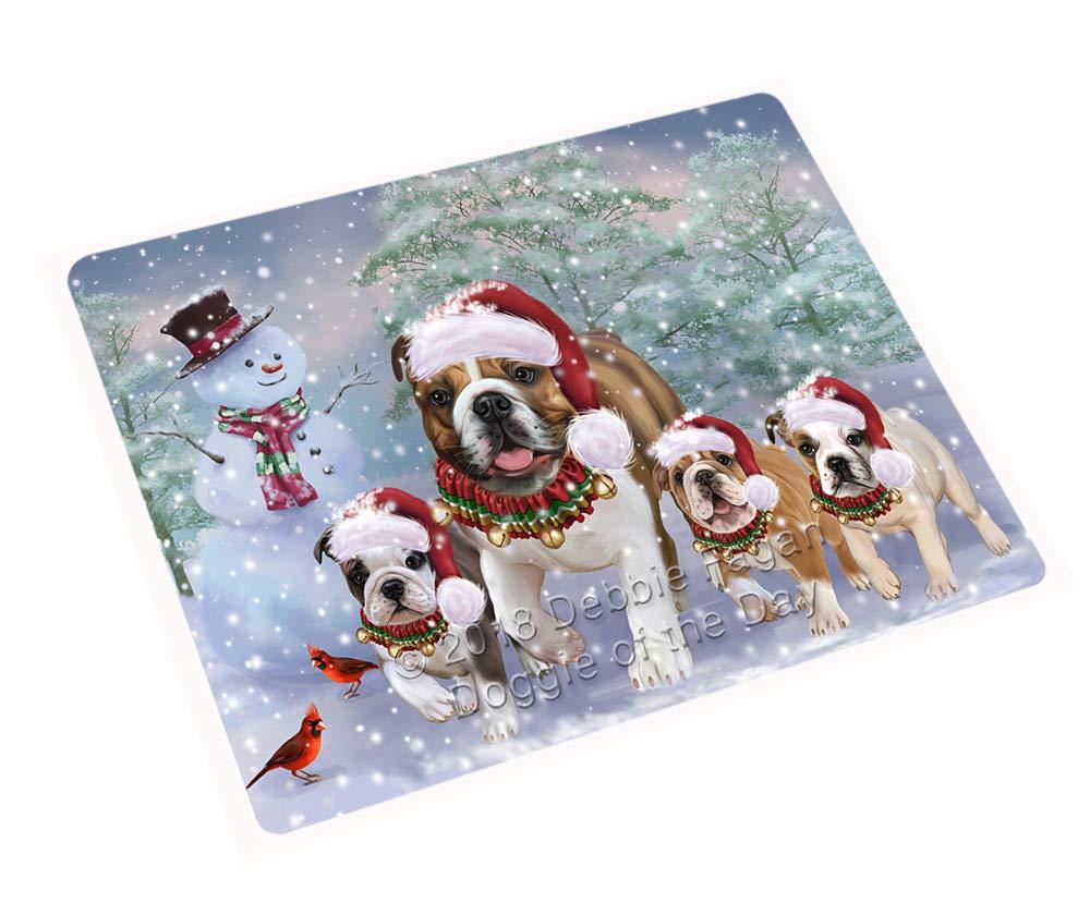 Doggie of the Day Christmas Running Family Bulldogs Dog Blanket BLNKT129144 (60x80 Woven)