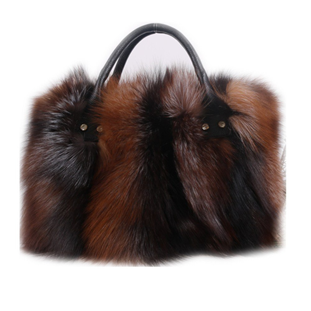 GEGEFUR Real fox Fur Bags for Women Large Tote Clutch Shoulder Handbag Purse (yellow)