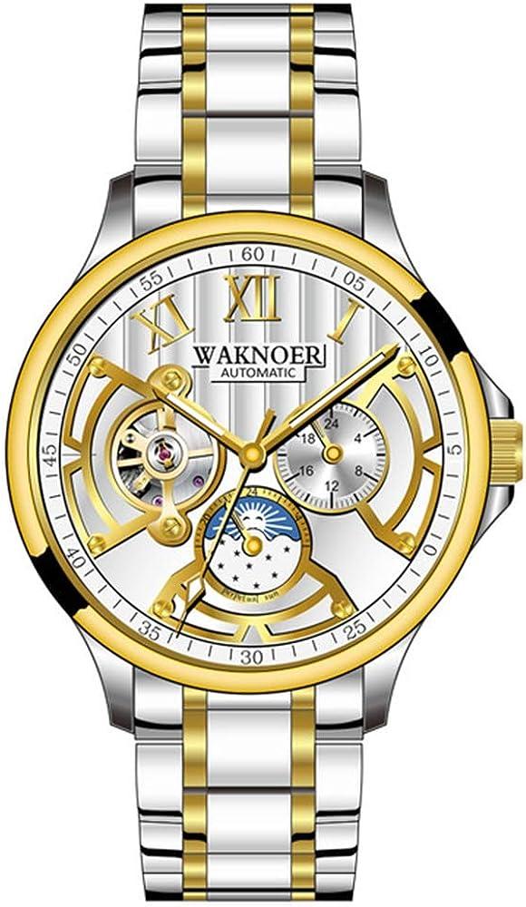 Reloj mecánico automático para Hombres, a Prueba de Herrumbre, Fase Lunar, Luminosa, Hombres de Negocios, Relojes de Moda