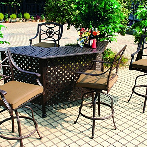 Darlee Ten Star 5 Piece Cast Aluminum Patio Party Bar Set with Swivel Bar Stool (Cast Star Ten Darlee)