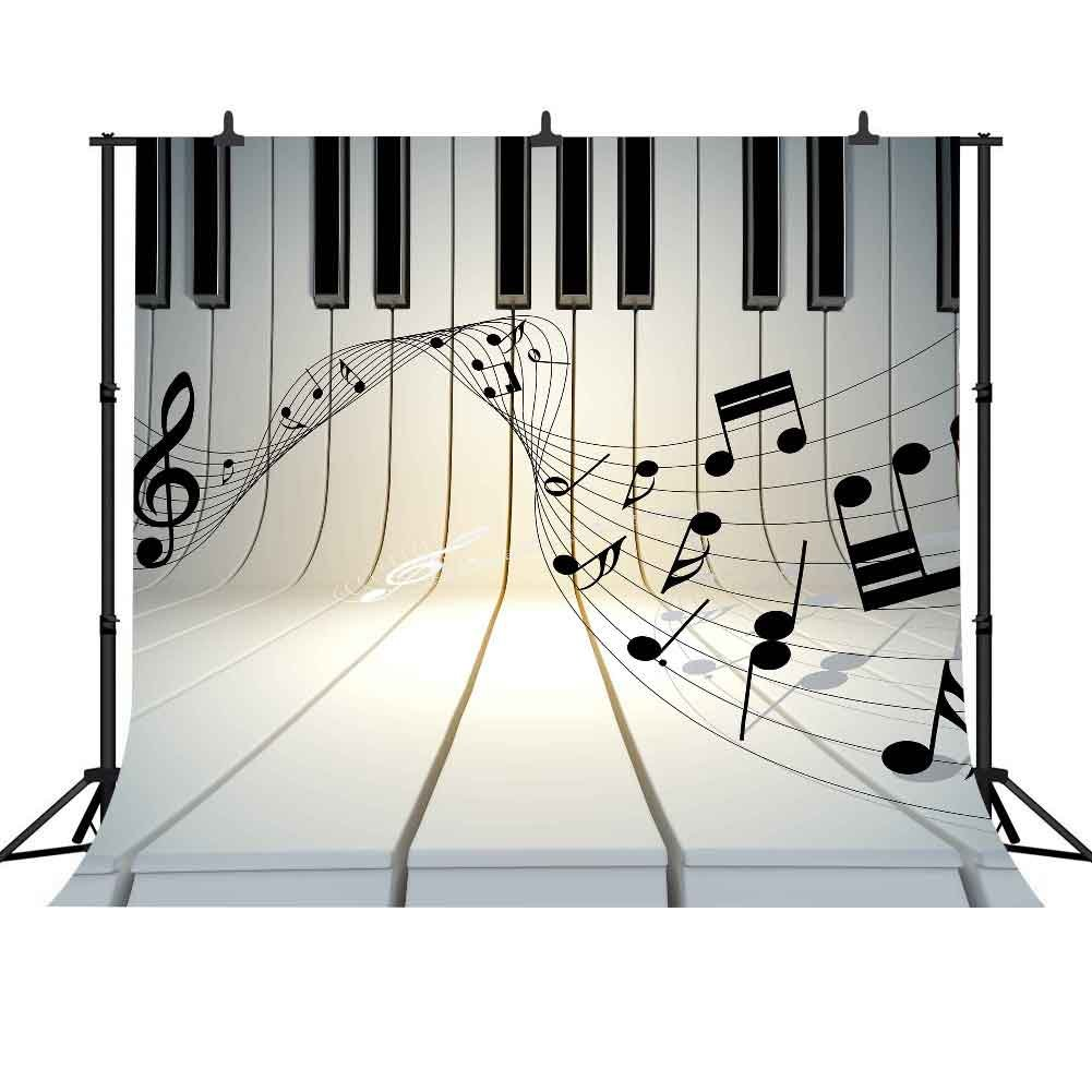 FHzON Musical Note 10 x 10ft写真バックドロップピアノキーボードStave Youtubeバックドロップ背景Choldrenベビー新生児テーマパーティー写真ブース小道具Studio lxfh104   B07F9GTD5M