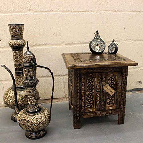 Kangju Hand Carved 15 Square Side Table Moroccan Style