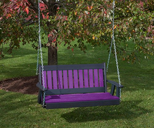 5FT-BRIGHT PURPLE-POLY LUMBER Mission Porch Swing Heavy Duty EVERLASTING PolyTuf HDPE – MADE IN USA – AMISH CRAFTED For Sale