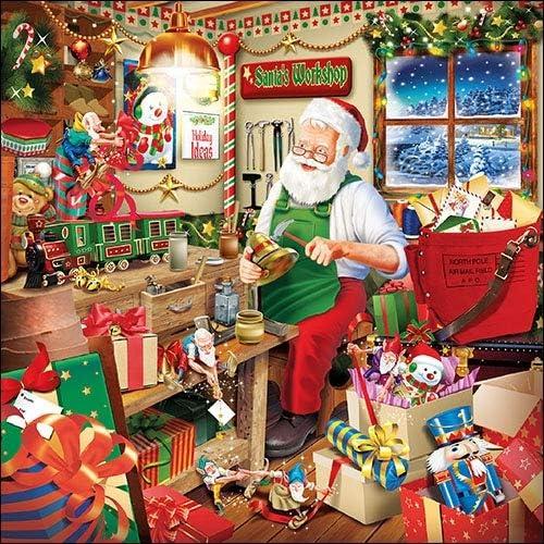 Ambiente Christmas Napkin 33 Centimetre Pack of 20 Santas Workshop