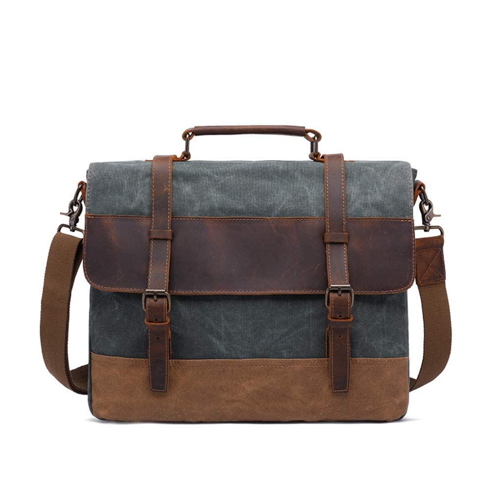 TADYL Laptop Bag 15.6-Inch, Men's Business Office Bag, Multi-Function Retro Messenger Handbag,Blue