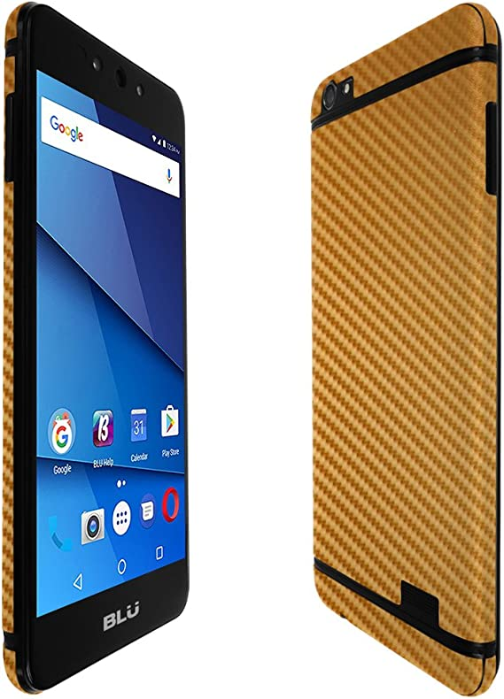 Skinomi Gold Carbon Fiber Full Body Skin Compatible with BLU Pure View Full Coverage TechSkin with Anti-Bubble Clear Film Screen Protector