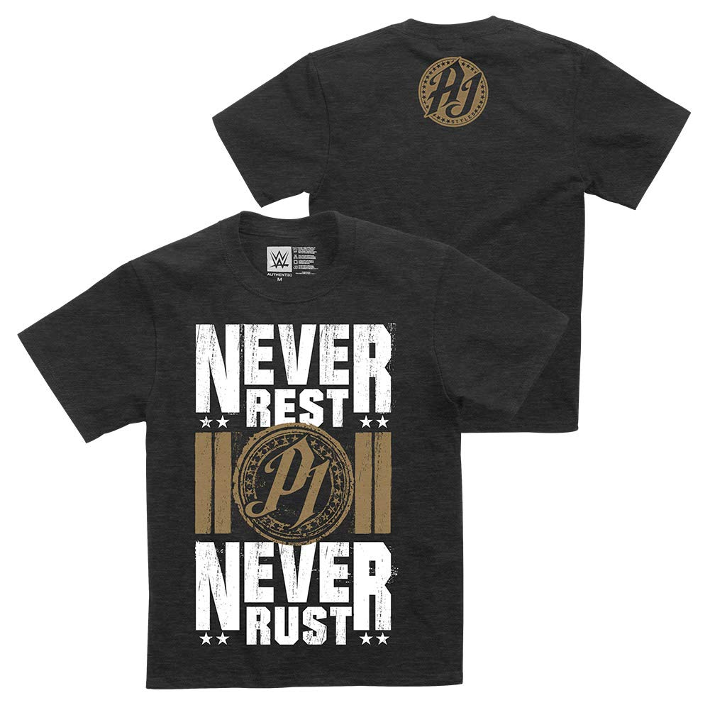 Never Rust Youth T-Shirt L WWE AJ Styles Never Rest