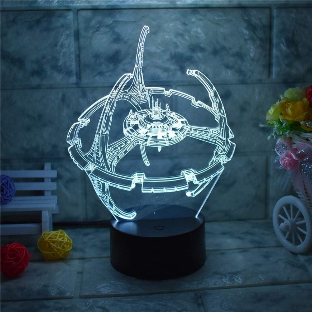 Hand-made Star Trek Deep Space Nine LED lamp made from laser cut acrylic