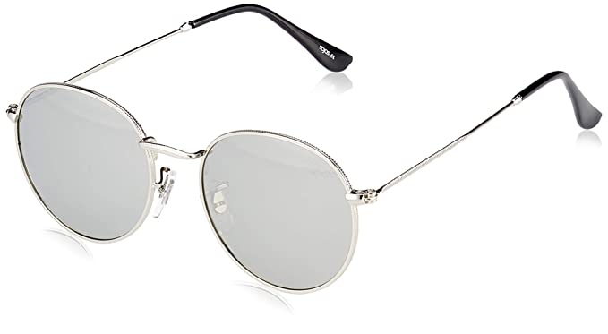 e85325308aa SOJOS Small Round Polarized Sunglasses Mirrored Lens Unisex Glasses SJ1014  3447 with Silver Frame Silver