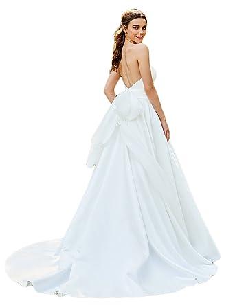 LMBRIDAL Womens Strapless A Line Chiffon Wedding Dress Fairy Bridal ...
