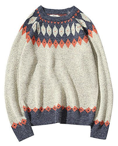wanture Women's Vintage Fair Isle Sweater Thick Trendy colorful Christmas Pullover Grey Tag M (Bust - Sweater Isle