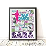 Tap Dance Personalized Typography Print - PrintChicks Dancer Custom Poster Wall Art Decor