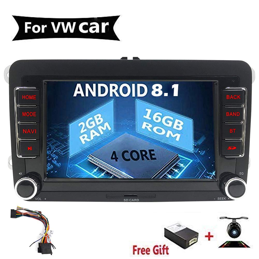 7 pulgadas Android 8.0 Quad Core Double Din Car Radio navegación estéreo para Volkswagen VW Skoda Polo Passat B6 Cc Golf 5 6 Tiguan 5 Fabia compatible ...