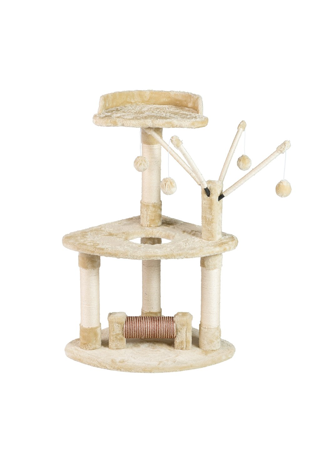BuyHive Cat Tree Activity Play House Kitten Condo Perch Scratching Post w/Dangling Toy
