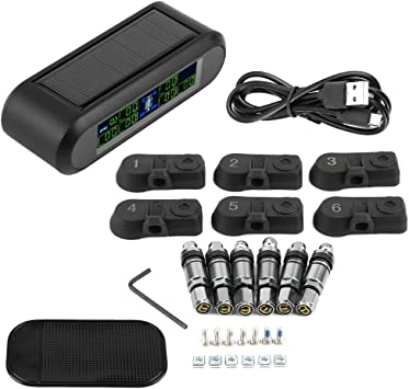 Car TMPS Tire Pressure Monitor System Wireless Solar TPMS Tire Pressure Monitoring System LCD Monitor Alarm with 6 Internal Sensors