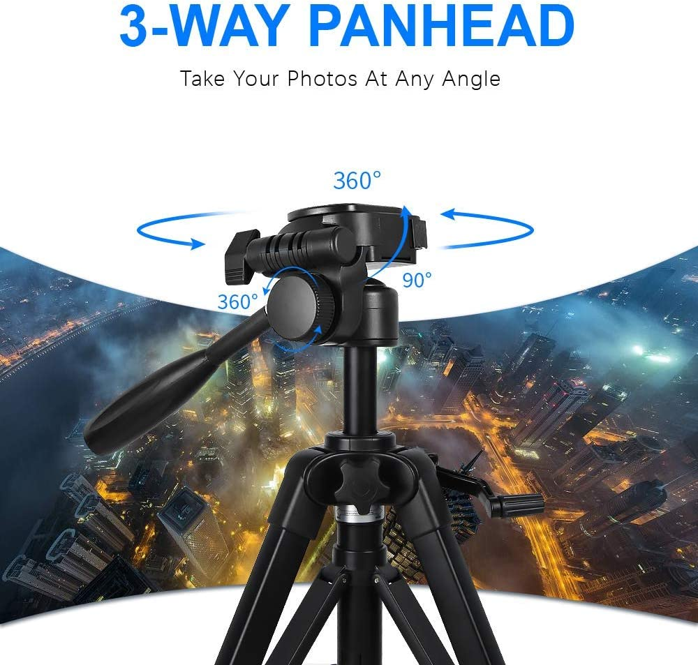 AAY Camera Tripod Portable Aluminum Alloy Camera Tripod Monopod with 3-Way Swivel Pan Head and Carrying Bag for DSLR DV Video Camcorder