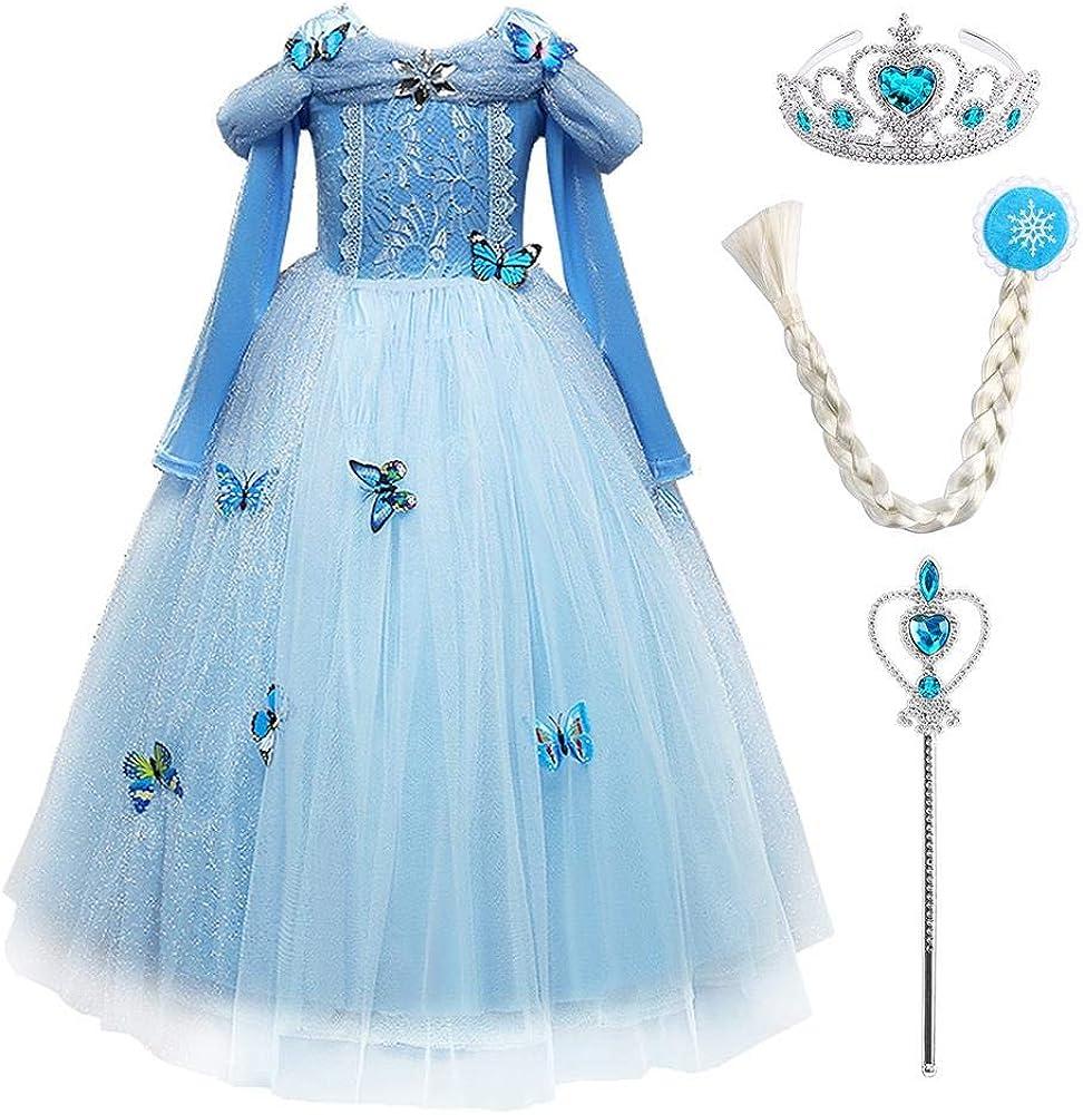IWEMEK Disfraz de princesa Cenicienta y mariposa para niña, vestido maxi de princesa, disfraz de mariposa para Halloween, Navidad, cosplay, de 2 a 10 años