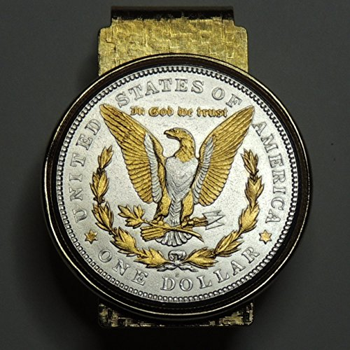 2-Toned Gold & Silver U.S. Morgan silver dollar eagle (Hinged) Money clips by J&J Coin Jewelry