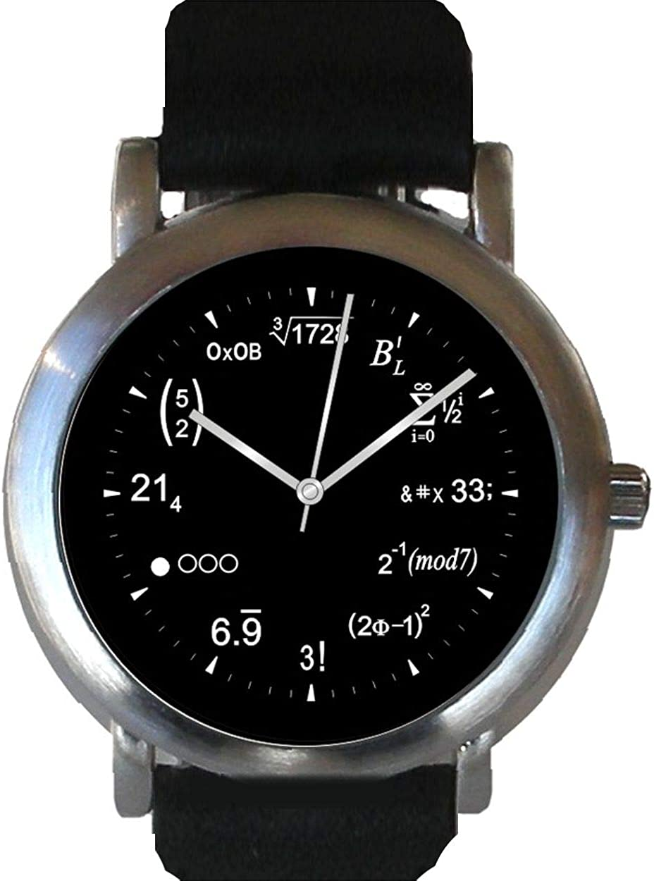 """Math Dial"" Watch Shows Physics Equations at Each Hour Indicator of The Brushed Chrome Watch with Black Leather Strap"