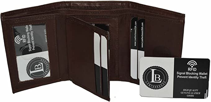 Mens Trifold 4 Fold Genuine Leather Wallet Card Holder New Brown by Leatherboss