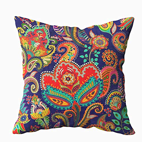 Musesh 16x16 Pillow Covers, Pattern Floral Backdrop Colorful Ornamental Paisley Wallpaper for Sofa Home Decorative Pillowcase Sofa Pillow Covers