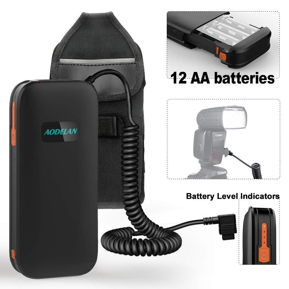 AODELAN External Flash Battery Pack Speedlite Battery Power Bank for Canon 600EX, 600EX II-RT, 600EX-RT, 580EXII, 580EX, 550EX,MR-14EX,MR -24EX. Replaces Canon CP-E4, CP-E4N(12AA Batteries)