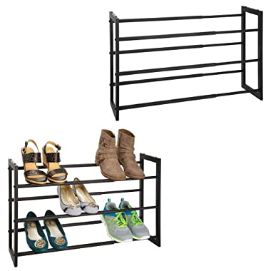 mDesign Metal 3 Tier Adjustable/Expandable Shoe and Boot Storage Organizer Rack - Space-Saving, Angled Vertical Storage - Closet, Entryway, Mudroom, Bedroom, Garage - 2 Pack - Black