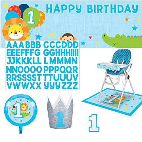 Boy High Chair Kit - Highchair Decorations for 1st Birthday Boy Party – First Birthday Boy Cake Smash Kit