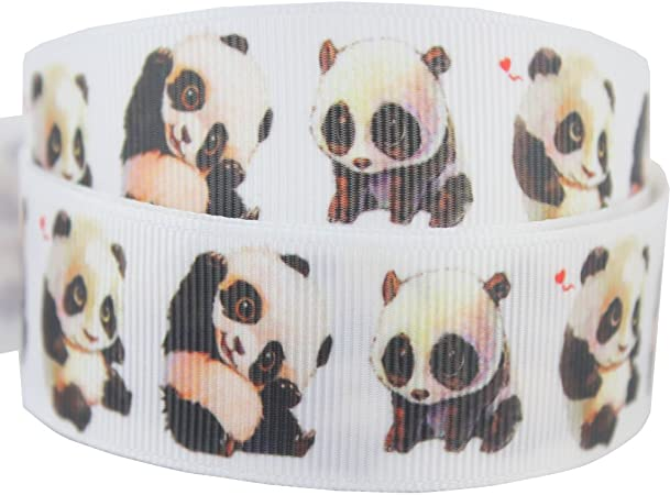 "BTY 1/"" Baby Panda And Elephant Grosgrain Ribbon For Hair Bows Dog Collars Lisa"