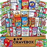 CraveBox - Deluxe Care Package Snack Box (60 Count) - Gift Basket Variety Pack with Bars, Chips, Candy and Cookies - Treats for Office, Lunches, College Students, Finals, Exams, Christmas, Holidays