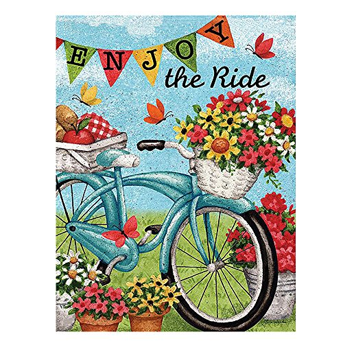 ALAZA Welcome Flowers Bicycle Butterfly Daisy Summer Spring Double Sided Garden Yard Flag 12