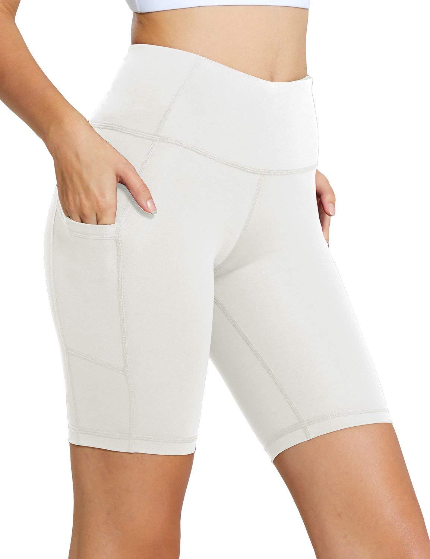 BALEAF Women's 8'' High Waist Workout Yoga Shorts Tummy Control Side Pockets White XXL by BALEAF