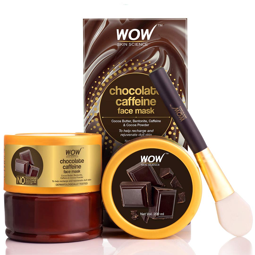 WOW Skin Science Chocolate Caffeine Face Mask for Recharging & Rejuvenating Dull Skin - No Parabens, Sulphate, Mineral Oil & Color, 200 ml