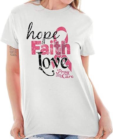 Camiseta Blanca con Texto en inglés Hope Faith Love Breast ...