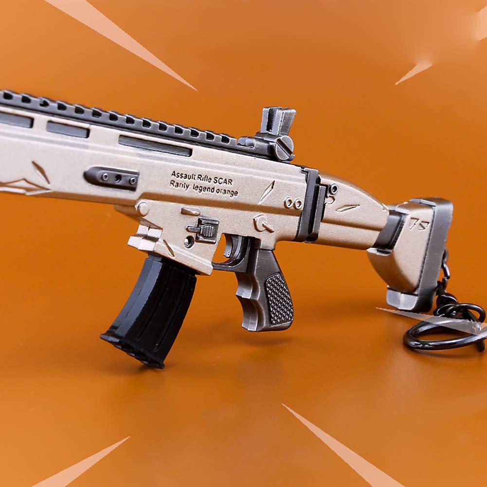 Fortnite Keychain Metal AWP Sniper Rifle Gun Model Action Figure Arts Toys Creative Cosplay M4 Scar (6.69 inch) (G) Bellagione