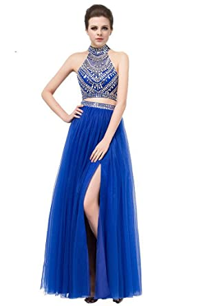 Gorgeous Two Piece High Neck Long Royal Blue Prom Dress Open Back with Beading Split Royal