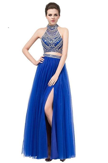 Gorgeous Two Piece High Neck Long Royal Blue Prom Dress Open Back with Beading Split Royal Blue-UK26: Amazon.co.uk: Clothing