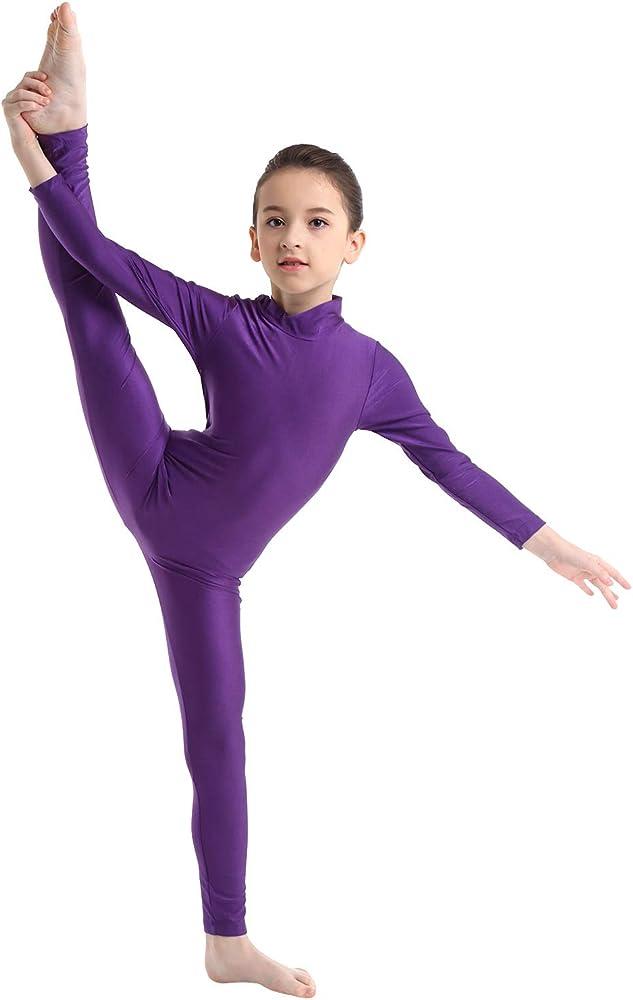 Freebily Girls Spandex Scoop Or Turtleneck Neckline Footless Unitard Full Body Unitard Catsuit Gymnastics Leotard Jumpsuit