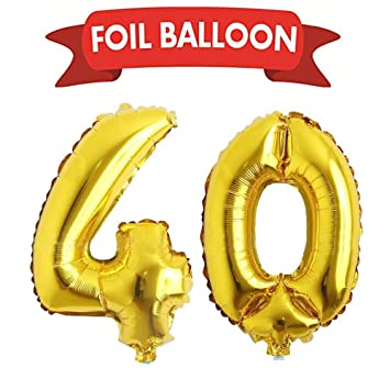 40th Birthday Party Supplies Gold Number Balloons Foil Helium Decorations Anniversary