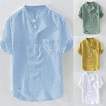Camisa Lino Hombre 2019 Moda SHOBDW Color Sólido Blusa Verano ...