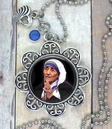 Mother Teresa of Calcutta, Works of Love, Choose Necklace, Purse Clip, Backpack Clip or Keychain. Lovely Photo Setting with Heart and Bright Blue Swarovski Crystal.