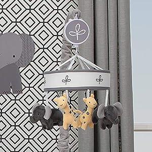 Lambs & Ivy Me & Mama Musical Baby Crib Mobile – Gray, White, Animals, Safari