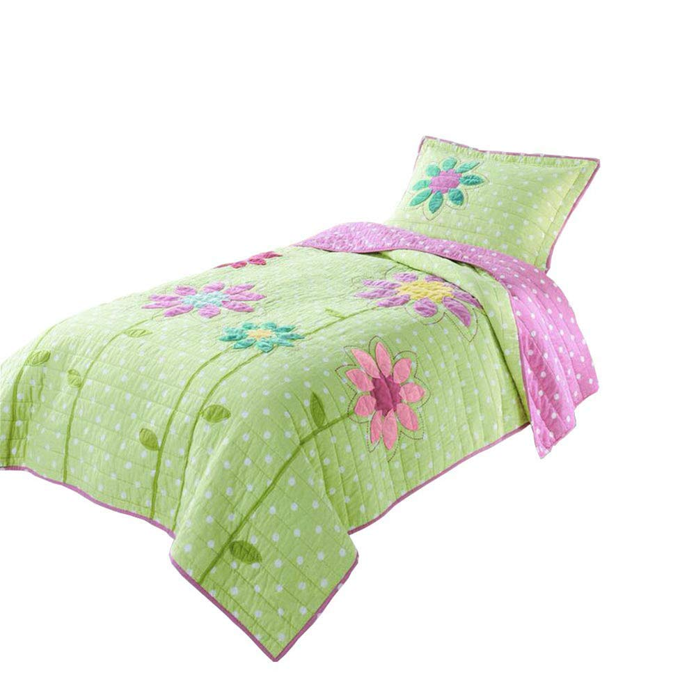 CASOFU Floral Print Girls Quilt Set, Green Premium Cotton Sunflower Bedding Sets, Reversible 100% Cotton Twin Boys Bedding Sets, Embroidered Quilted Bedspreads (Twin)