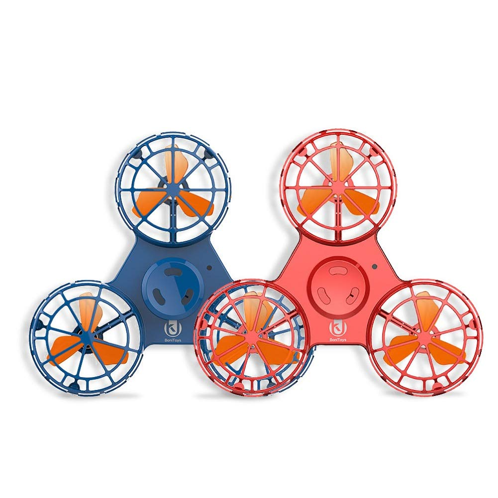 UK BONITOYS Handheld Flying Drone,Outdoor Hand Flying Toys Interactive Toys for Kids Adult (Blue and Red)