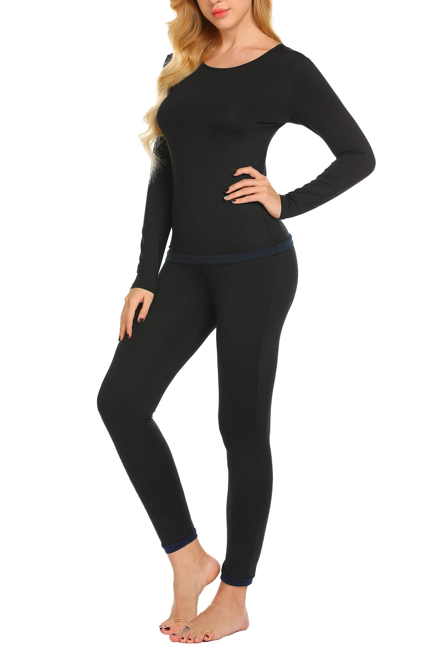 Ekouaer Women's Fleece Lined Thermal Underwear Set Top & Bottom (Black L)