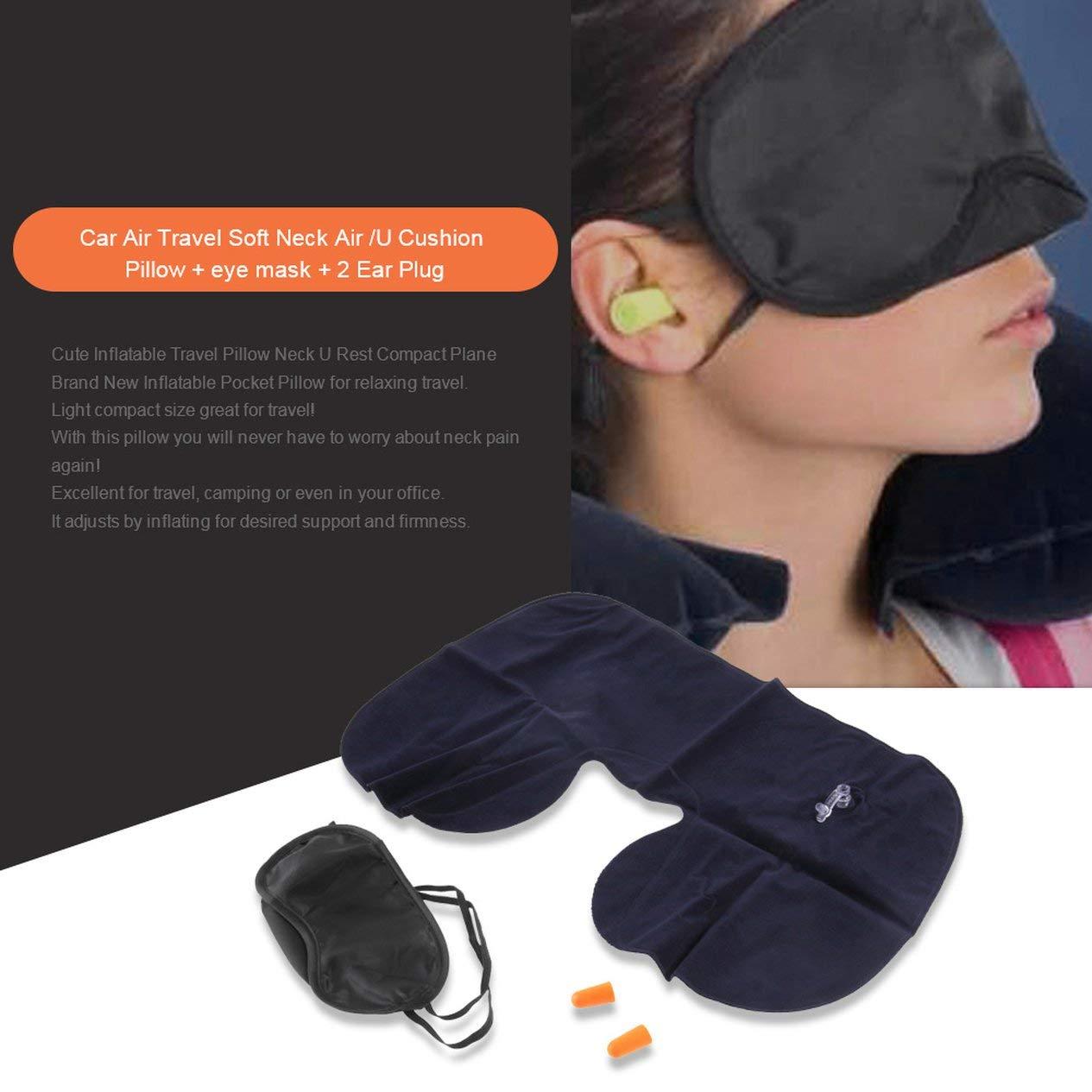 maschera per gli occhi 2 tappi per le orecchie EdBerk74 1 set viaggio collo cuscino cuscino a forma di cuscino ufficio volo viaggiare collo resto morbido cuscino cuscino sanit/à